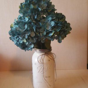 Blue Hydrangeas w/Ball Jar Vase